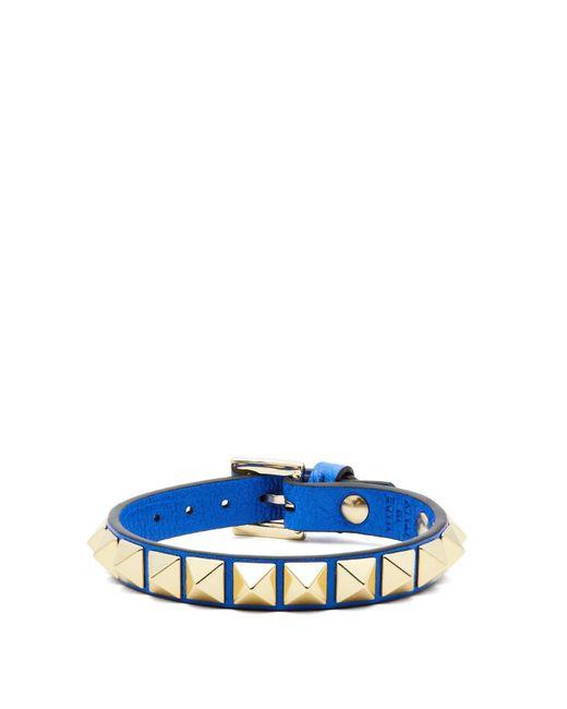 Valentino - Blue Rockstud Leather Bracelet - Lyst