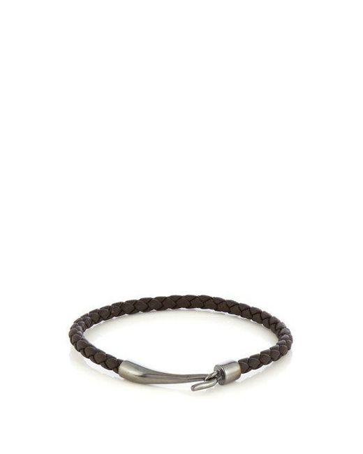 Bottega Veneta - Brown Double-wrap Leather Bracelet for Men - Lyst