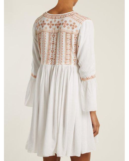 Natalia embroidered tie-neck mini dress Melissa Odabash yXwSd