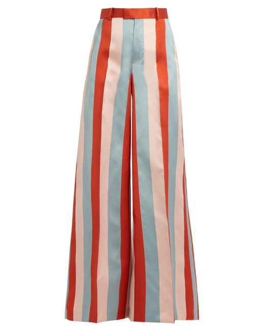 RED Valentino | Red Striped Wide-leg Satin-gabardine Trousers | Lyst