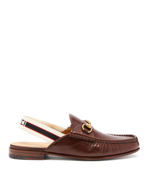 b86f05d79 Gucci - Brown Roos Horsebit Slingback Strap Leather Loafers for Men - Lyst  ...
