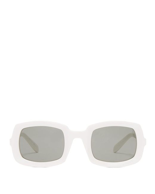 Saint Laurent - White Thick Frame Acetate Sunglasses - Lyst