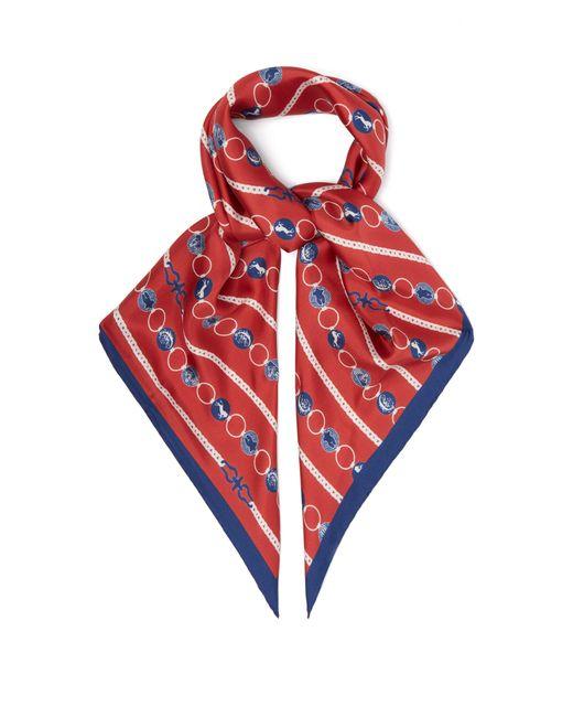 Chloé - Red Baroque Logo Print Silk Scarf - Lyst