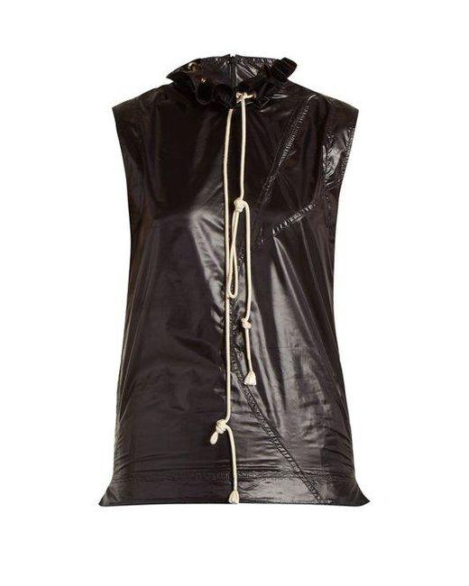 CALVIN KLEIN 205W39NYC - Black Ruffle-trimmed Drawstring-neck Top - Lyst