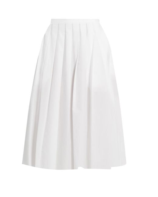 Vince   White Pleated Cotton Skirt   Lyst