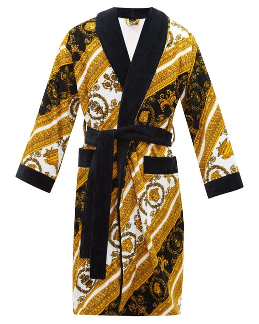 Versace Multicolor White And Gold I Heart Baroque Robe for men