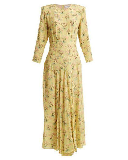 Raey - Yellow Bracelet Sleeve Acid Tree-print Silk Dress - Lyst