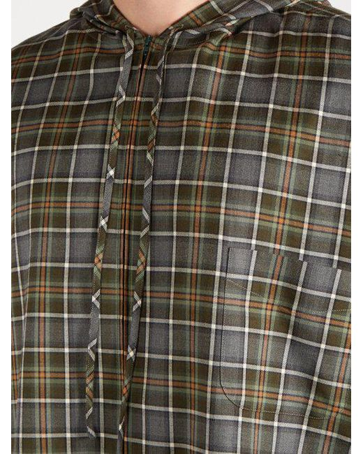 7bd1945a ... Balenciaga - Gray Plaid Cotton Flannel Hooded Shirt for Men - Lyst