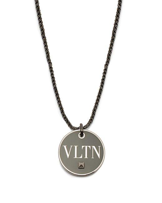 Valentino - Black Vltn Brass Pendant Necklace for Men - Lyst