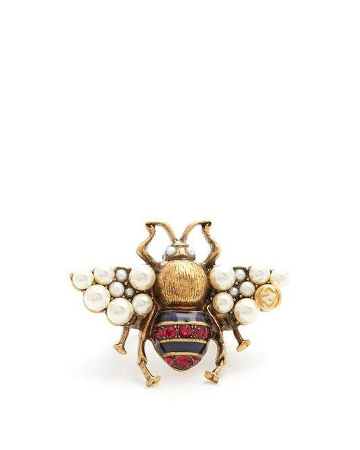 Gucci - Metallic Bee Crystal And Faux-pearl Embellished Ring - Lyst