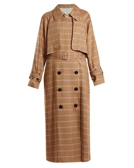 Golden Goose Deluxe Brand - Multicolor Vela Checked Double-breasted Trench Coat - Lyst