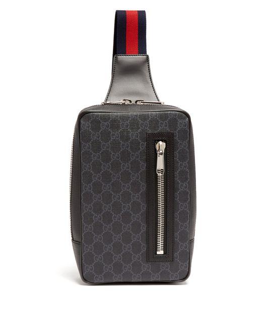 Sac bandoulière en cuir Suprême GG Gucci pour homme en coloris Black