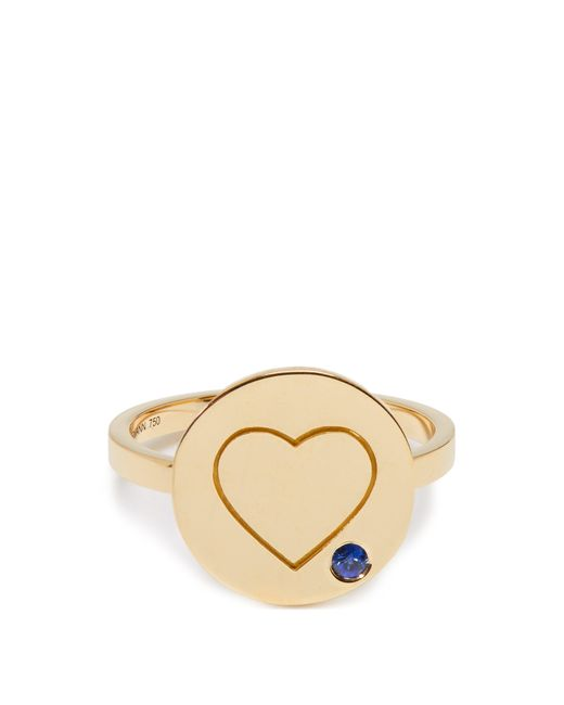 Aurelie Bidermann - Metallic Heart Sapphire & Yellow Gold Ring - Lyst