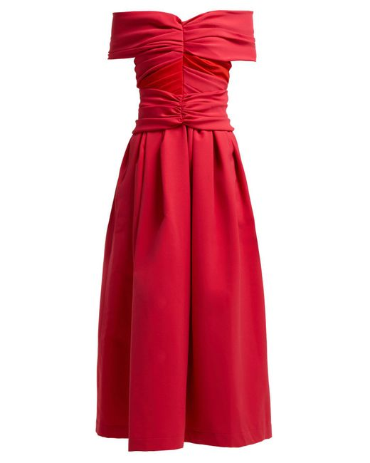 Preen By Thornton Bregazzi - Red Ellie Ted Off The Shoulder Satin Midi Dress - Lyst