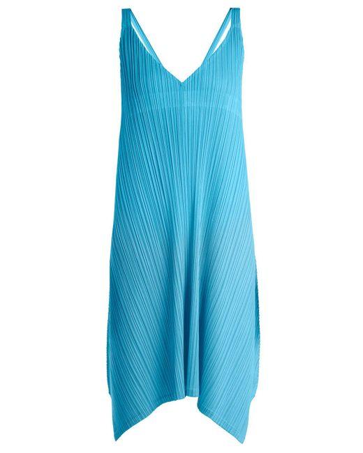 Pleats Please Issey Miyake - Blue Pleated V Neck Dress - Lyst