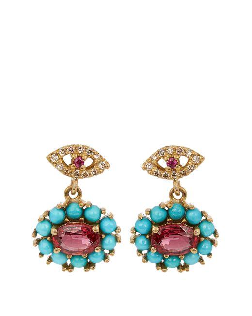 Ileana Makri | Metallic Diamond, Ruby, Sapphire & Turquoise Earrings | Lyst