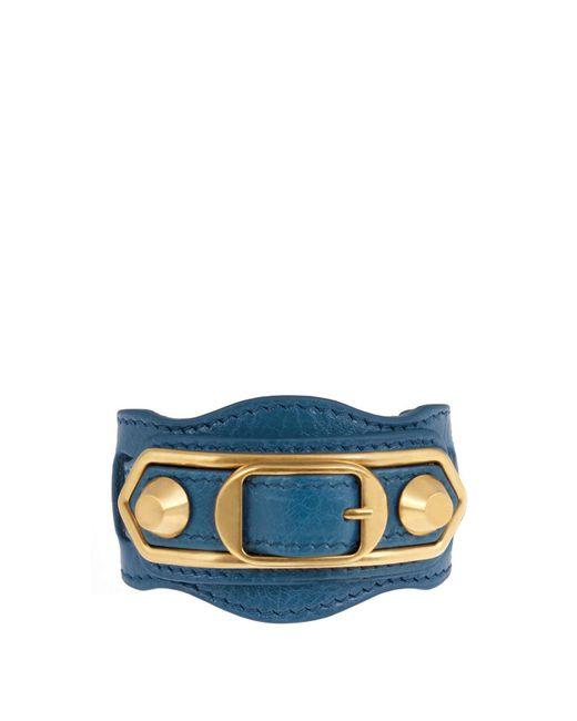 Balenciaga - Blue Classic Metallic Edge Leather Bracelet - Lyst