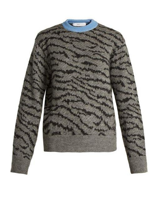 Toga - Gray Animal-jacquard Wool-blend Sweater - Lyst