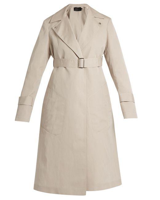 Calvin Klein | Natural Peak-lapel Long Silk-blend Coat | Lyst