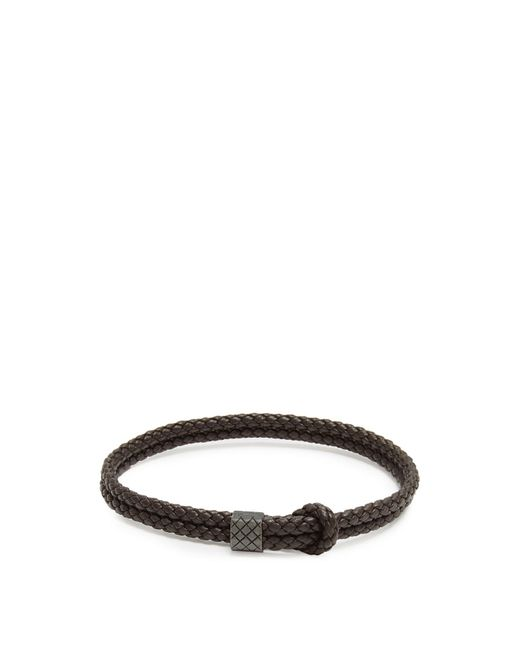 Bottega Veneta - Brown Double Intrecciato Woven Leather Bracelet for Men - Lyst