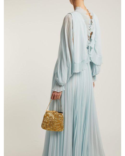 e224712849 ... Self-Portrait - Blue Pleated Chiffon Maxi Dress - Lyst ...