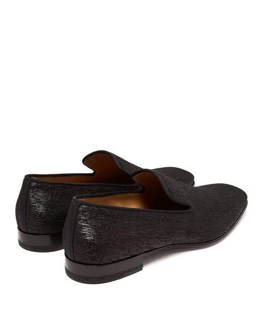 2f76c64e7b0 ... Christian Louboutin - Black Dandelion Metallic Shantung Loafers for Men  - Lyst ...
