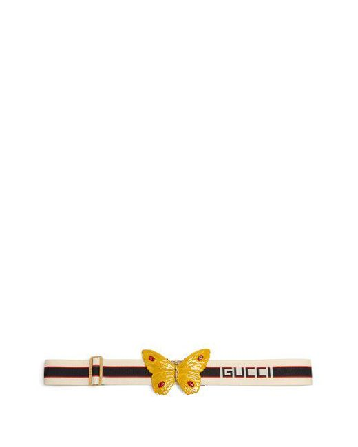 Gucci - White Crystal-embellished Butterfly Elastic Belt - Lyst