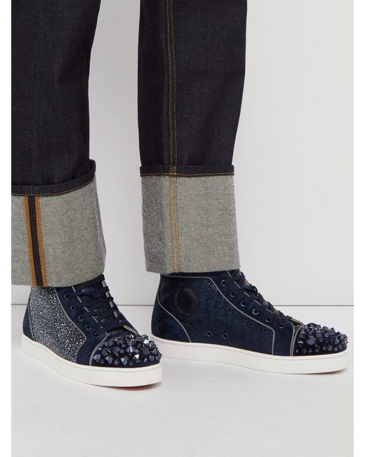 bb2e30bcf540 ... Christian Louboutin - Blue Lou Mix Spiked Suede High Top Trainers for  Men - Lyst ...