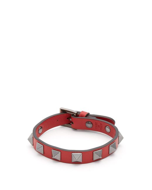 Valentino - Red Rockstud Leather Bracelet for Men - Lyst