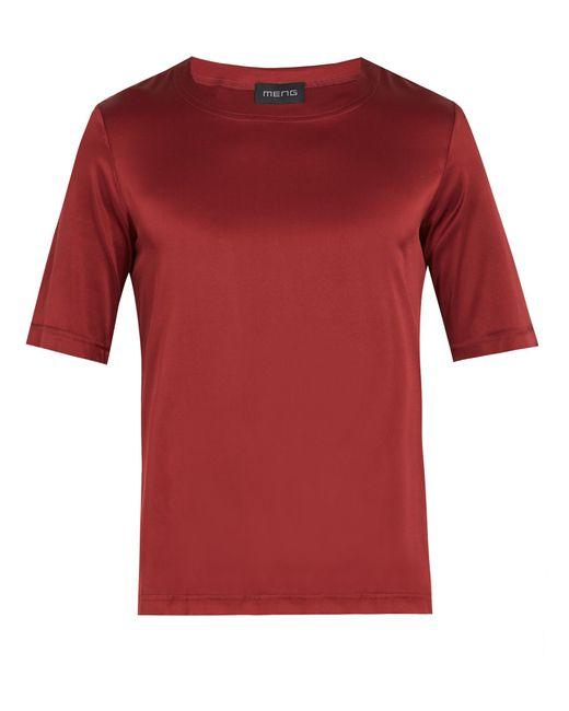 Meng   Red Crew-neck Silk-satin Pyjama Top for Men   Lyst