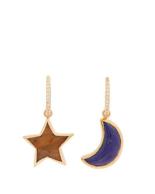 Theodora Warre - Blue Lapis-lazuli And Tiger-eye Gold-plated Earrings - Lyst