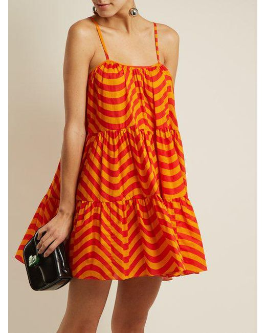 Wave-print gathered cotton dress House Of Holland Cheap Lowest Price Largest Supplier Buy Cheap Cheapest From China Online NUhcyR1h