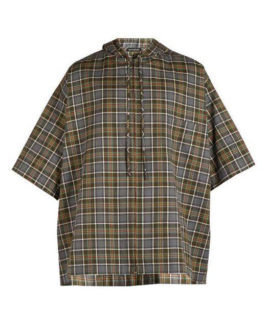 00f9f252 Balenciaga - Gray Plaid Cotton Flannel Hooded Shirt for Men - Lyst ...