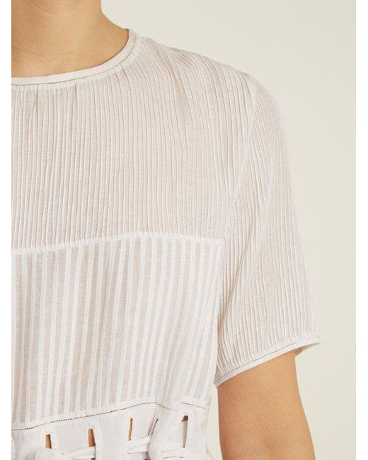 Jours De Venise pleated cotton-blend top Thierry Colson Sale 2018 Cheap Sale Fake Clearance With Mastercard Clearance Ebay gZB309