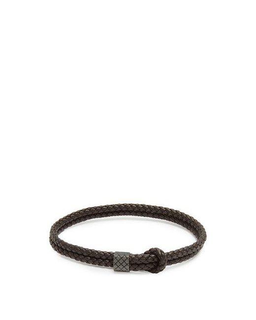 Bottega Veneta - Brown Double Intrecciato-woven Leather Bracelet for Men - Lyst