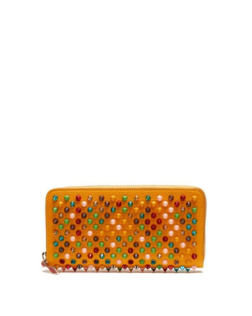 Christian Louboutin - Orange Panettone Spike-embellished Leather Wallet - Lyst
