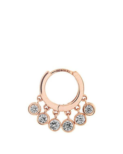 Jacquie Aiche - White Diamond & Rose-gold Earring - Lyst