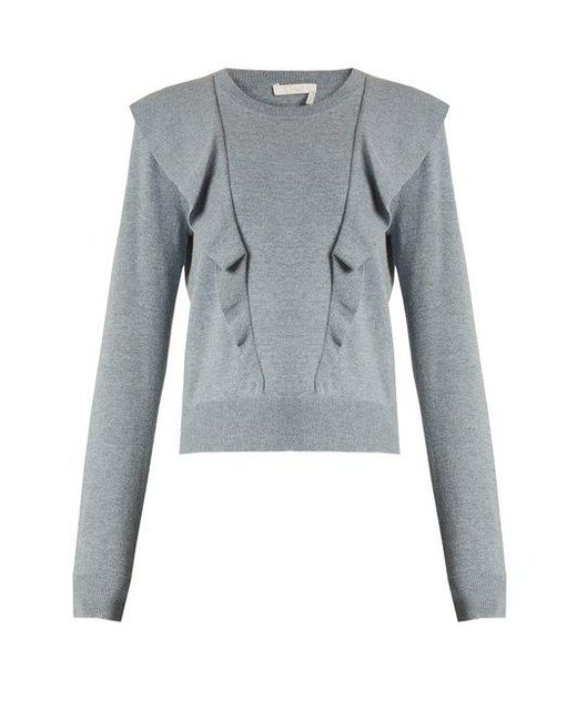Chloé - Blue Frilled Cashmere And Cotton-blend Sweater - Lyst