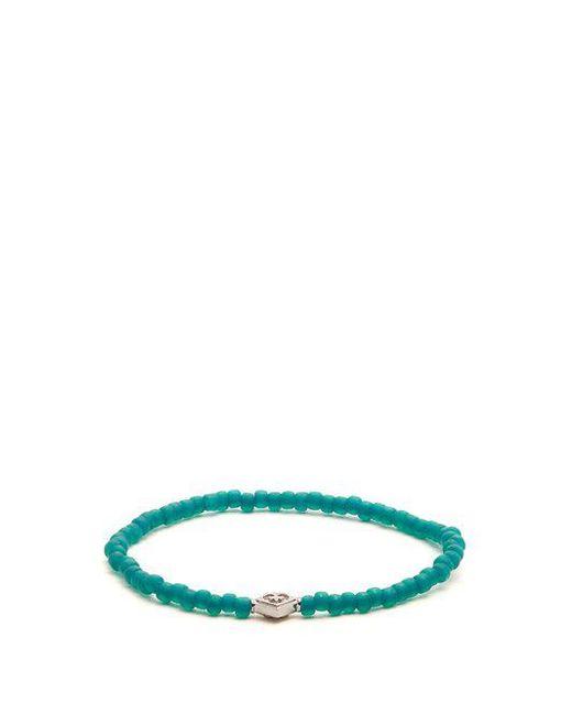 Luis Morais - Green Bead And White-gold Bracelet for Men - Lyst