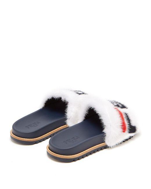 acd61a4979bc4 ... Fendi - Multicolor White Mania Fur Slides for Men - Lyst ...