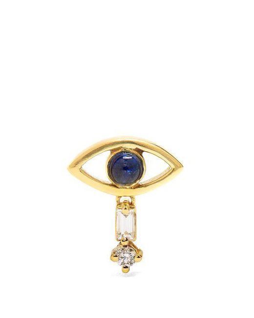 Ileana Makri - Metallic Diamond, Sapphire & Yellow-gold Earring - Lyst