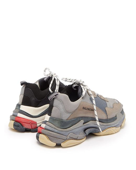 74ffcd7634117a ... Balenciaga - Gray Men s Triple S Trainer Sneakers - Grey Black - Size 39  (6 ...