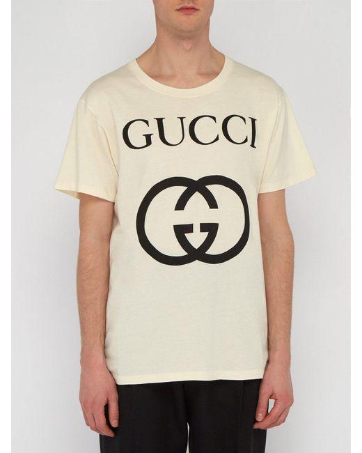 4d1ba80f043a ... Gucci - Multicolor Logo Print Cotton T Shirt for Men - Lyst ...