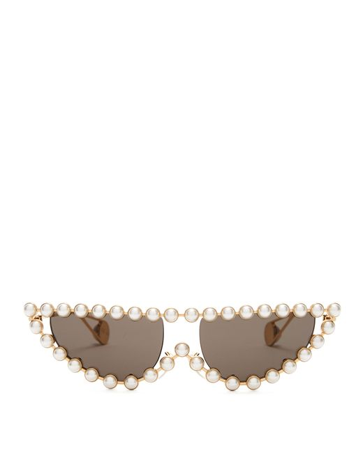 00ef2c8ded Gucci - Multicolor Pearl Embellished Cat Eye Sunglasses - Lyst ...