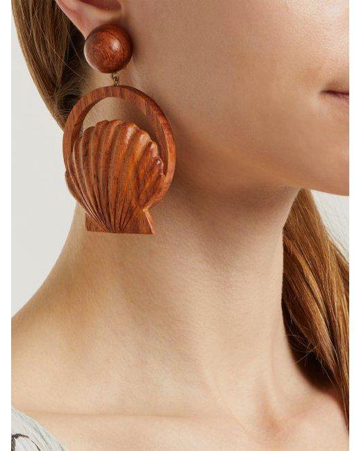 Rebecca de Ravenel Venus wood clip-on earrings oTfU3x6YJ