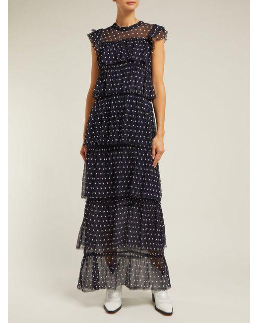 95638552b0 ... SIR - Blue Marceau Tiered Polka Dot Silk Dress - Lyst ...
