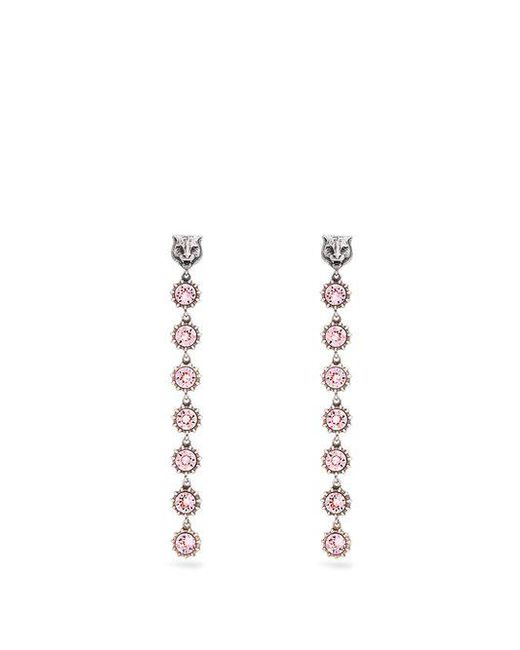 Gucci - Pink Tiger Crystal-embellished Earrings - Lyst