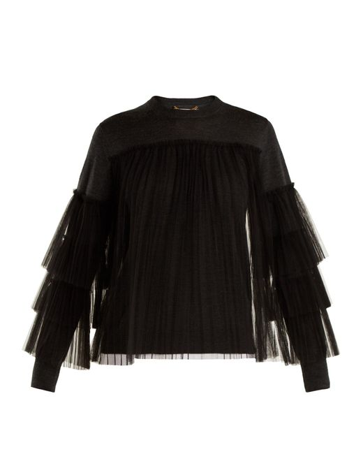 MUVEIL - Black Pleated Tulle-embellished Wool Sweater - Lyst