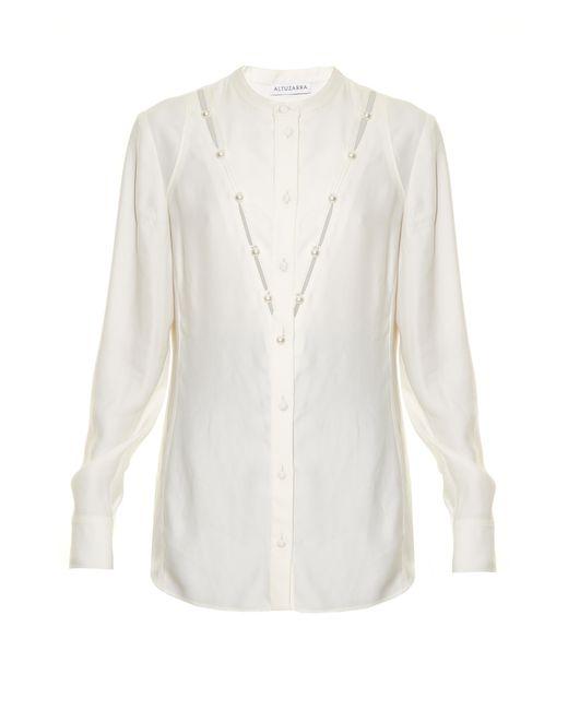 Altuzarra | White Amanda Faux-pearl Embellished Blouse | Lyst