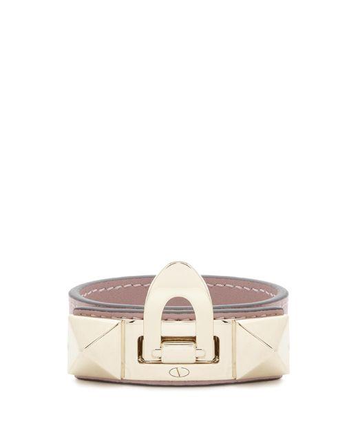 Valentino   Pink Rockstud Leather Bracelet   Lyst